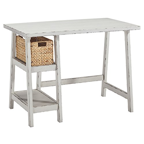 Ashley Furniture Signature Design - Mirimyn Small Home Office Desk - 2 Shelves - Includes Brown Basket - Distressed Antique White