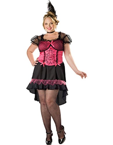 InCharacter Costumes Women's Plus Size Saloon Gal 2B Adult Costume, Black/Pink, -