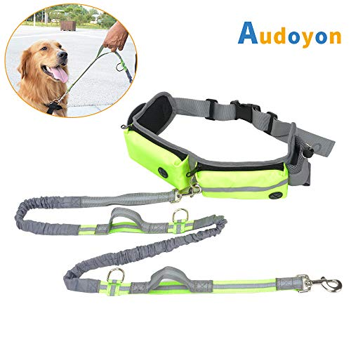 Audoyon Hands Free Dog Leash, Shock Absorbing Bungee Leash with Treat pouch, Pocket and Bottle Holder for Running,Walking,Training and Hiking,for Small to Large Dogs,Adjustable Waist Belt,Dual Handle (Dog Leash Wallet)