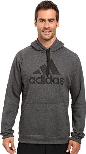 adidas Men's Essential Cotton Fleece Logo Pullover, Medium, Dark Grey Heather/Black