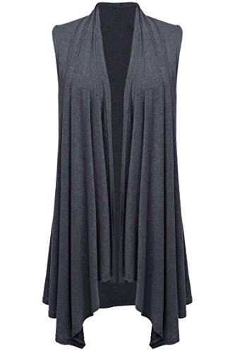 Fanala Womens Asymetric Cardigan Casual Crochet Coat Grey Sweaters Vestidos
