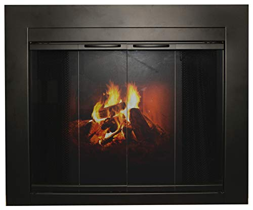 Ironhaus Hawthorne Bifold Fireplace Door with Sliding Mesh Burnished, X-Large, Bronze ()