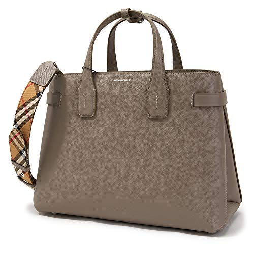 (Burberry Women's Taupe Leather Vintage Check Tote Handbag)