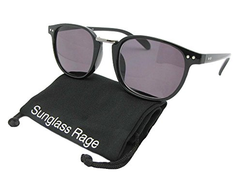Semi Round Retro Full Reader Sunglasses (Black Frame-Non Polarized Gray Lens, - For Frames Round Lens Faces