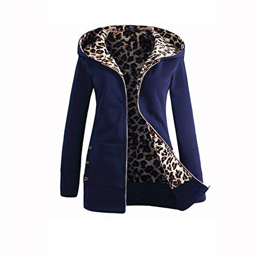 Velvet Winter Coat - Mose New Fashion Women Plus Size Long Sleeve Winter Warm Velvet Thicker Hooded Leopard Zipper Coat Overcoat (Navy, L)