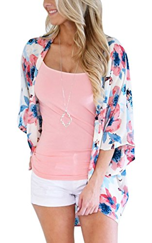ECOWISH Womens Floral Print Loose Kimono Cardigan Beach Cover Up Blouse Tops 955 Pink M