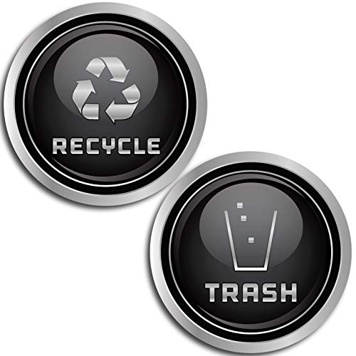 (Recycle and Trash Logo Symbol (2.75 in x 2.75 in) - 7 Mil - Laminated - Elegant Look for Trash Cans, Containers, and Walls - Laminated Vinyl Decal)