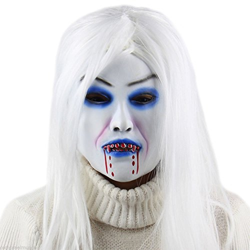 NPLE--Horror White Witch Ghost Latex Mask Masquerade Halloween Party Bar Supply