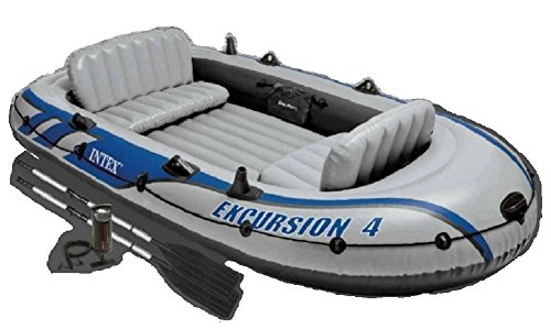 Intex Excursion 4, 4-Person Inflatable Boat Set with Aluminum Oars and High Output Air Pump (Latest...