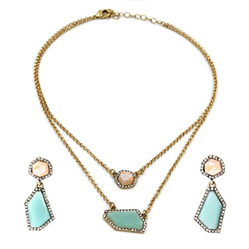 Gold Mint Acrylics (Green and Blush Acrylic Stones 2 Layer Gold Chain Necklace and Drop Earrings Jewelry Set)