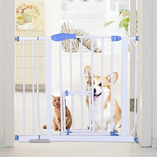 Safety Baby Gate with Cat Door,Unine 27.6-39 Inch Telescopic Width Bar with 5.5 Inch Extensions,Wide Baby Gate,Durability Pet Stair Fence Barrier,Easy Walk Thrugh Child Gate for Stairs,Doorways