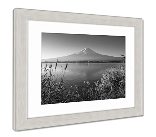 Mountain Fuji in Morning from Lake Kawaguchiko, Wall Art Home Decoration, Black/White, 30x35 (Frame Size), Silver Frame, AG5910127 ()