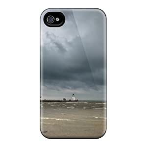 Defender Case For Iphone 4/4s, Lighthouse On A Pier Under Stormy Clouds Pattern by icecream design