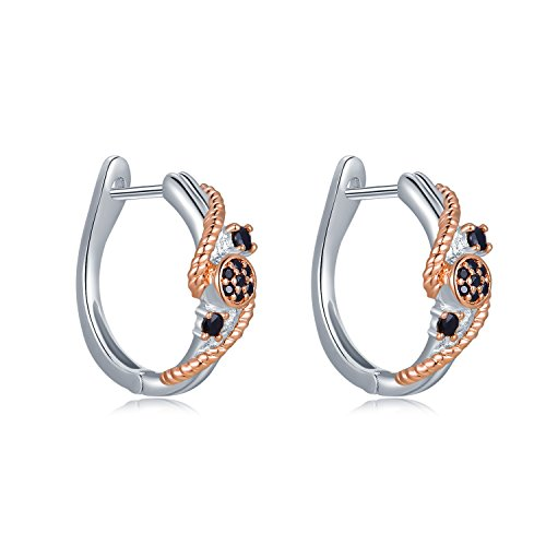(MBLife 925 Sterling Silver Plated Rose Gold Black CZ Twisted Rope Hinged Hoop Earrings)
