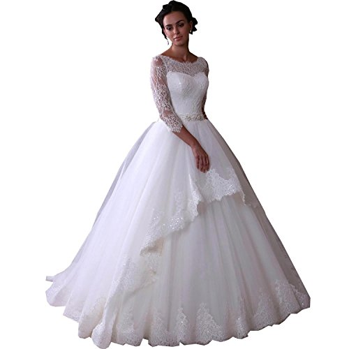 Banfvting Lace Scoop Neckline Wedding Dresses For Womens Ball Gown