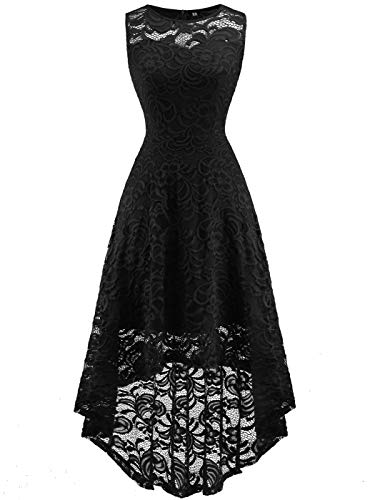 FAIRY COUPLE Women's Vintage Floral Lace Hi-Lo Sleeveless Cocktail Formal Swing Dress DL022A (2XL,Black) -