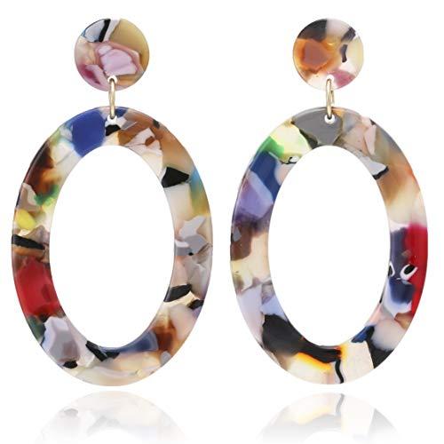 BONALUNA Mottled Circle Hoop Acrylic Resin Dangle Statement Earrings for Women
