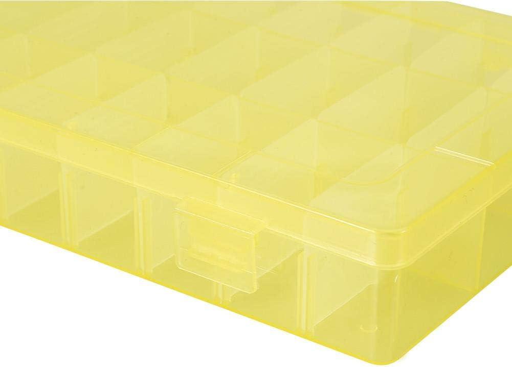 TMISHION 24 Grids Kunststoff Schmuck Einstellbare Box Abnehmbare Organizer Perlen Ohrringe Aufbewahrungskoffer Kunststoff Aufbewahrungsbox Organizer Blau