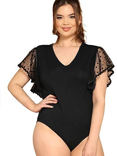 Milumia Women's Elegant Plus Mesh Flutter Sleeve V Neck Bodysuit Tops Black 1XL ()
