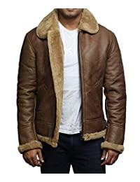 Brandslock Mens RAF Aviator Soft Shearling Sheepskin Leather Jacket