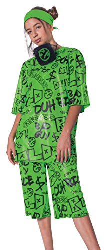 Disguise Billie Eilish Costume, Official Green Oversize Top and Shorts for Kids, Musical Artist Inspired Outfit, Classic Child Size Small (4-6x) (112579L)