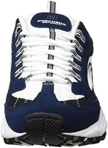 Skechers 51286, Stamina Cutback voor heren, Blue (Navy Leather/White Mesh/Trim Nvw), 23.5 EU