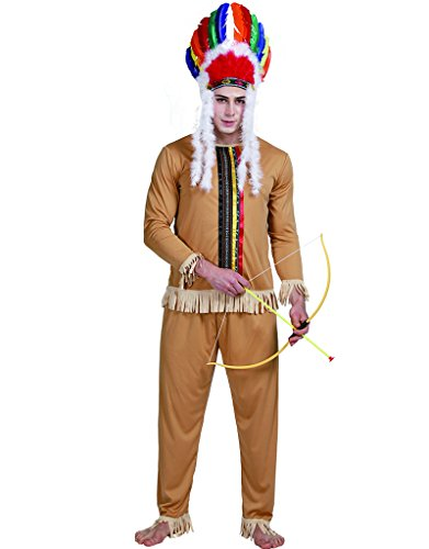 Easy Indian Costume Men (EraSpooky Halloween Men's Native American Indian Costume(As Picture, X-Large))