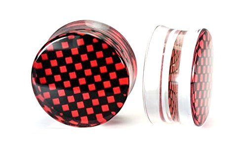 Painful Pleasures 4g up to 26mm CHECKERBOARD Red/Black Double Flare Plugs - Price Per 1-24mm ~ - Mm Checkerboard 26