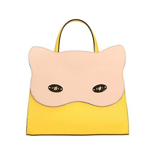 Chicca Borse Handbag Borsa a Mano in Vera Pelle Made in italy - 32x28x13 Cm Giallo - Rosa