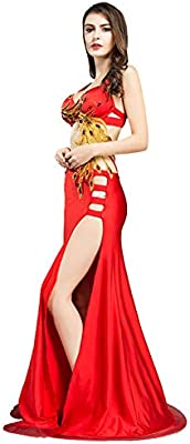 ROYAL SMEELA Belly Dance Costume for Women Belly Dancing Skirt Dancing Dresses Phoenix 4 Sizes Red and Blue