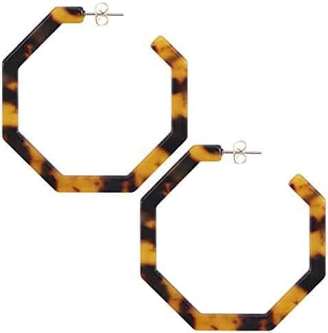 WOWSHOW Fashion Geometric Octagon Hexagon Hoop Earrings for Women Girls