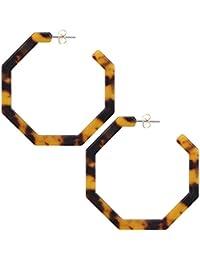 Fashion Geometric Octagon Hexagon Hoop Earrings for Women Girls
