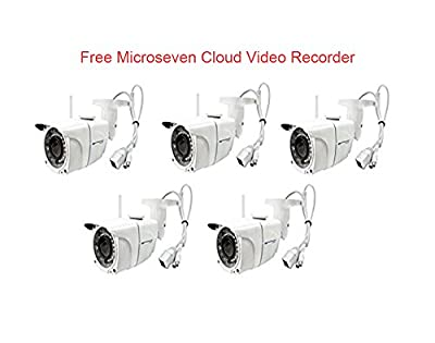 Microseven HD Cloud Cam Works with Alexa,Free 24Hr Cloud, Two-Way Audio 1080P WiFi Wide Angle (170°) Outdoor IP Camera,Built-in Microphone & Speaker, by MICROSEVEN