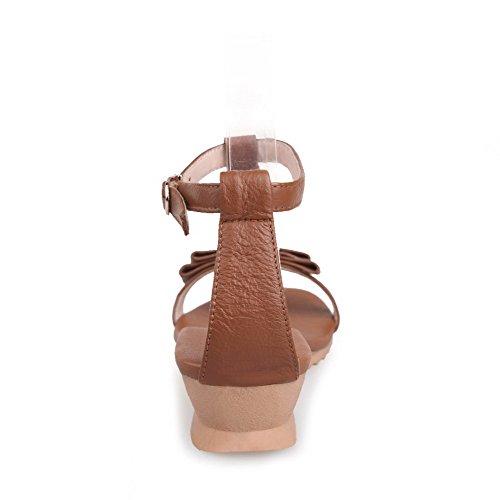AllhqFashion Mujeres Hebilla Puntera Abierta Mini Tacón Sólido Sandalia de Cuña con Lazos Marrón
