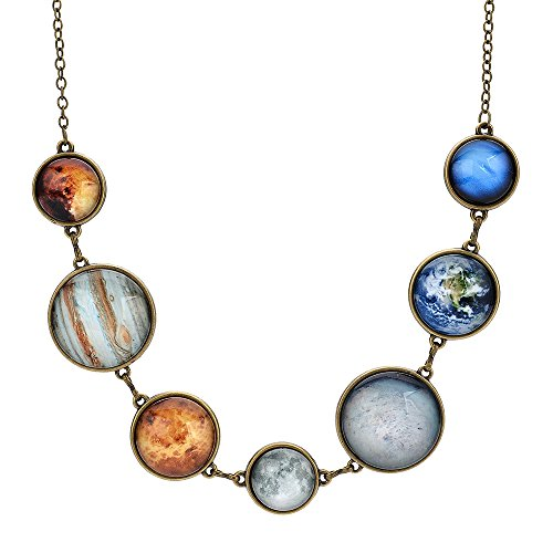 Moon Necklace Double-sided Planet Handmade Sun Moon Necklace Statement Space Necklace for women (Anti-gold Necklace 1)