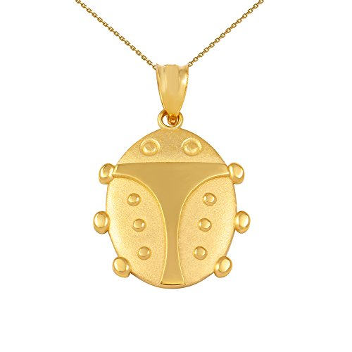 Fine 10k Yellow Gold Lucky Ladybug Pendant Necklace Charm, 22