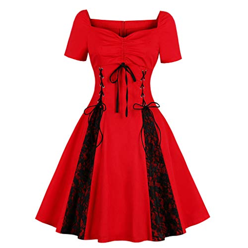 - FAPIZI Women Bandage Lace Patchwork Cowl Neck Short Sleeve Solid Casual Ruffled Hem Sling Mini Dress Skirt Red