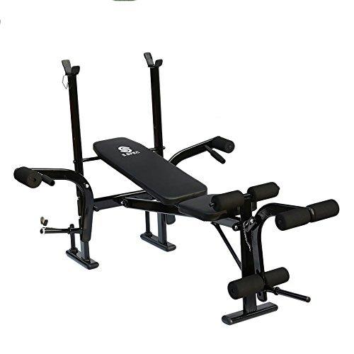 Homgrace Banc musculation multifonctionnel Fitness réglable Support pour haltères Banc de forme physique à la maison 170 * 120 * 110cm