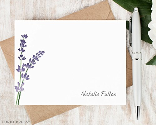 LAVENDER - Personalized Flat Floral Plant Stationery/Stationary Note Card Set