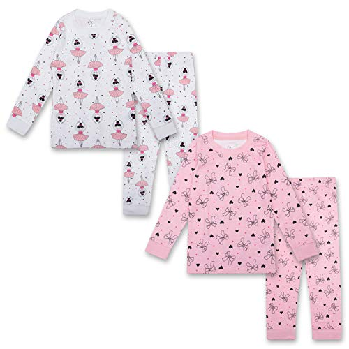 Long Pjs Piece 2 - Gentle Organics 100% Organic Cotton Girls Pajamas 4 Piece Pajama Sets - 100% Organic Cotton (Infant/Toddler)