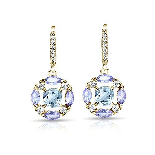 Gold Marquise Amethyst Earrings - 2