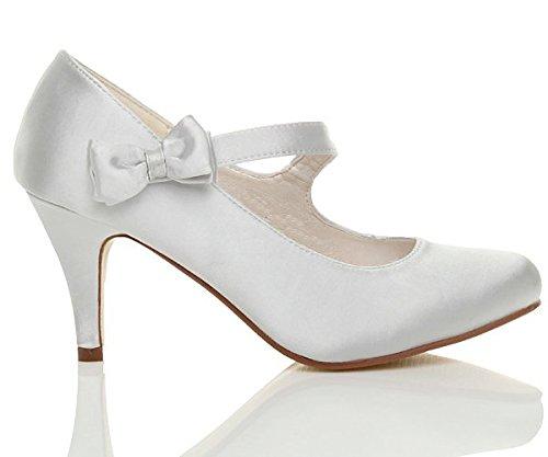 Damen Mittel Hoher Absatz Mary Jane Riemen Schleife Hochzeit Brautjungfer Abend Schuhe Pumps Größe Silber
