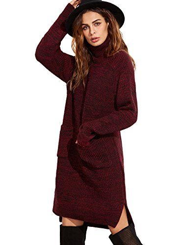 Neck Cable Knit Dress (ROMWE Women's Long Sleeve Turtleneck Knitted Pocket Loose Sweater Dress Burgundy)