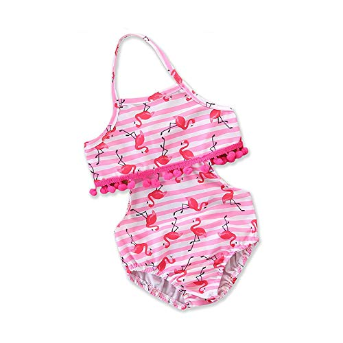 Crystalzhong Baby/Toddler Girls Swimwear Girls Kids Tassel One-Piece Swimsuit Lace-up Princess Bikini Swimwear Bathing Suit 1-6 Years Children One Piece Swimsuit (Size : 4T(3-4Y)) ()
