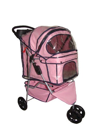 New-BestPet-Pink-3-Wheels-Pet-Dog-Cat-Stroller-wRainCover