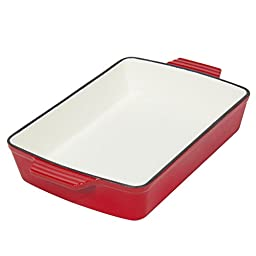 Best Choice Products Cast Iron Roasting Tray Pan Oven To Table Dish, Red