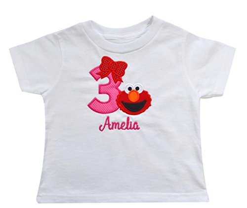 Funny Girl Design Personalized Elmo 3rd Birthday Toddler Girls Embroidered T Shirt with Custom Name (4T) - Funny Custom Toddler Tee
