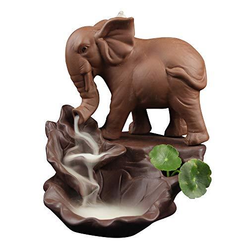 Povkeever Tea Set Back Incense Burner, Elephant Ceramic Reflow Incense Holder Home Extra Large Flow Incense Burner Tea Ceremony Ornamental Ornaments