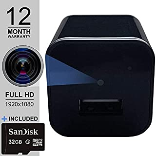 Spy Camera Charger - Hidden Camera - 32 GB SD Card Included - Premium Pack - Hidden Spy Cam - Hidden Nanny Cam - Mini Spy Camera 1080p - Hidden Cam - USB Charger Camera - Surveillance Camera Full HD