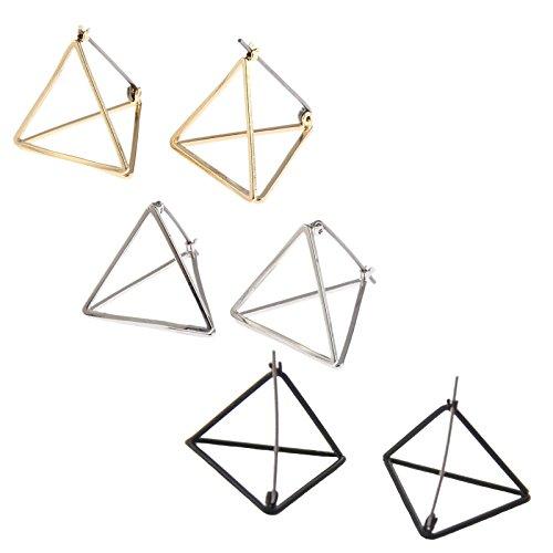 Beydodo 3 Pairs/6PCS Gold Plated Earrings Dangle Minimalist Earrings for Women 3D Triangle Earrings Set